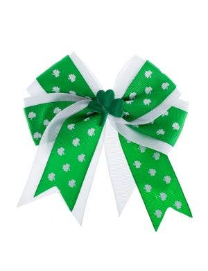 Green and White St Patrick's Day Hair Bow Costume Accessory