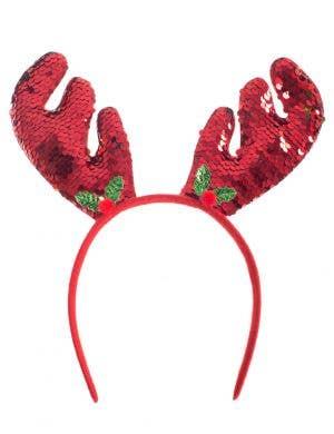 Red and Gold Reversible Sequin Reindeer Headband