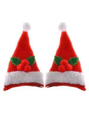 Mini Santa Hat Hair Clips Christmas Accessory