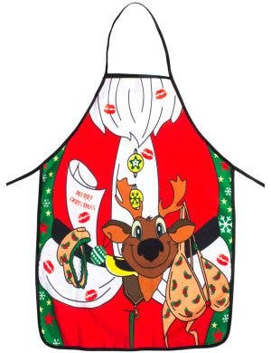 Naughty Santa Claus with Reindeer Novelty Christmas Costume Apron