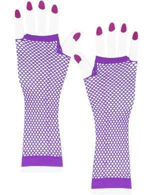 Purple Fingerless Fishnet Elbow Length Costume Gloves