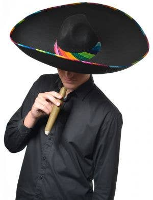 Large Black and Rainbow Mexican Sombrero Costume Hat - Main Image