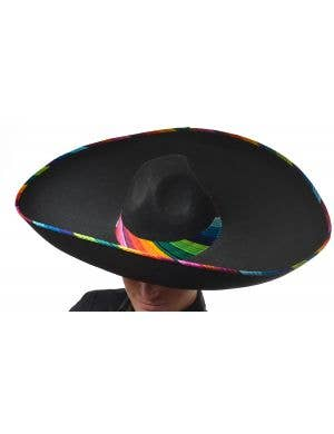 Black Large Mexican Sombrero Hat with Rainbow Trim