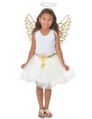 Christmas Angel Girls Cream and Gold Costume Dress Up Set