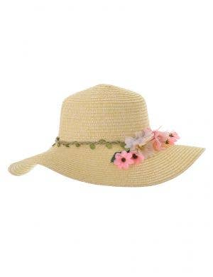 Natural Straw Floppy Costume Hat with Flowers