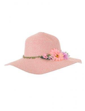 Salmon Pink Straw Floppy Costume Hat with Flowers