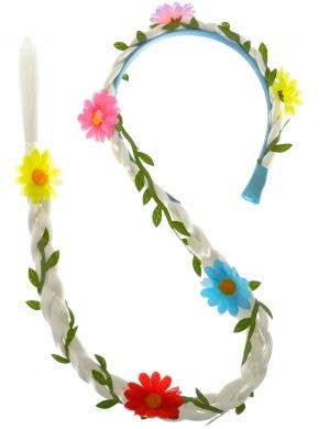 Long Blonde Braided Headband with Coloured Flowers Costume Accessory