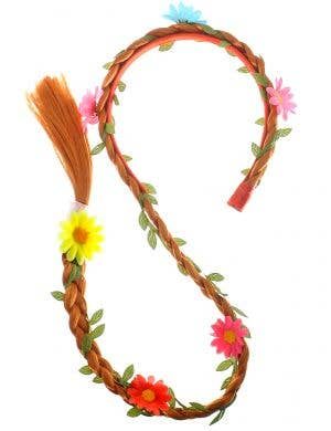 Long Ginger Red Braided Headband with Coloured Flowers Costume Accessory