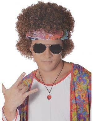 Men's Curly Brown Hippie Afro Wig and Headband Set