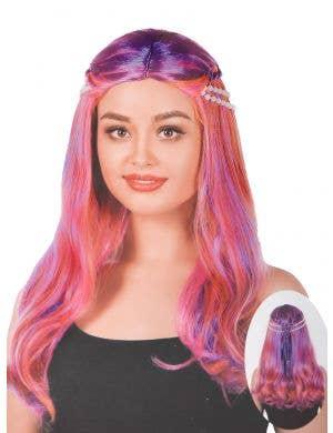 Women's Purple and Orange Braided Mermaid Wig with Pearls