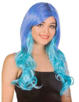 Women's Long Curly Blue to Aqua Ombre Costume Wig