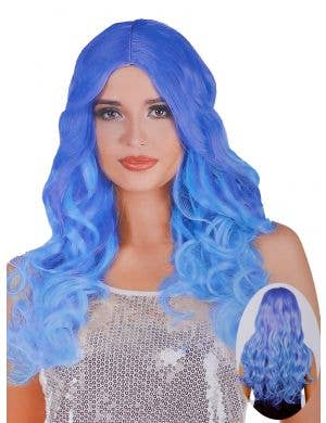 Blue Ombre Women's Curly Costume Wig with Centre Part
