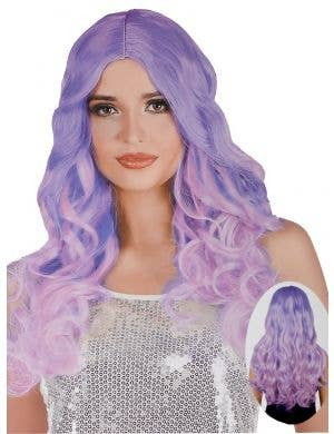 Pink and Purple Ombre Women's Curly Costume Wig with Centre Part