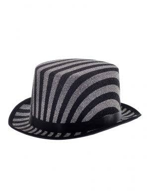 Black and Silver Striped Lurex Top Hat Costume Accessory
