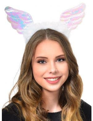 Iridescent Angel Wings Costume Headband with Feather Trim