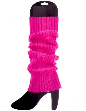 Bright Pink 1980s Knitted Leg Warmers Costume Accessory
