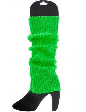 Bright Green 1980s Knitted Leg Warmers Costume Accessory