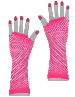 Pink Fishnet 80s Gloves