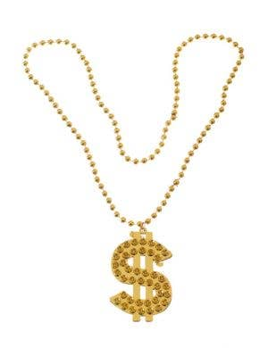 Gangster Gold Bling Beaded Dollar Sign Costume Necklace