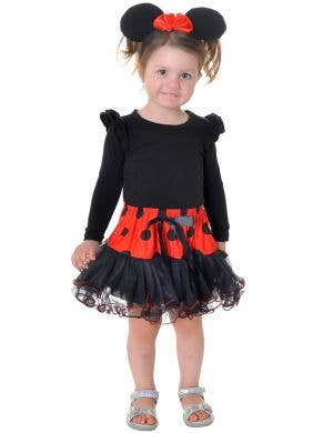 Toddler Black and Red Cute Minnie Mouse Headband with Petticoat Tutu Skirt
