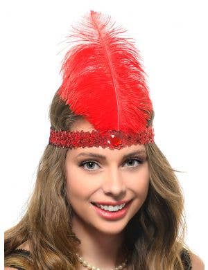Women's Red Sequin Flapper Headband with Large Red Feather