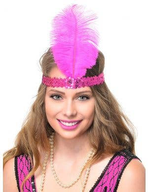 Hot Pink Sequin Gatsby Headband with Large Pink Feather Costume Accessory