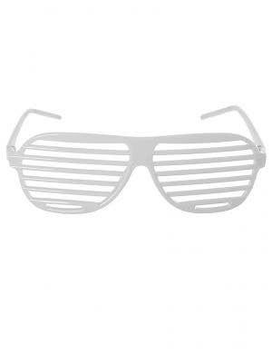 White 1980s Shutter Shades Costume Accessory