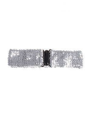 Silver Sequin Stretch Belt Costume Accessory