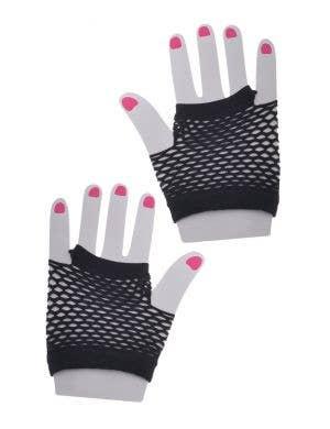 Black Fishnet Short Fingerless 80s Costume Gloves - Main Image