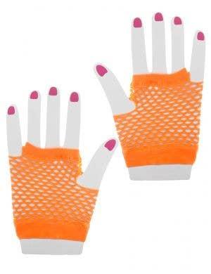 Neon Orange Short Wrist Length Fingerless Fishnet Gloves