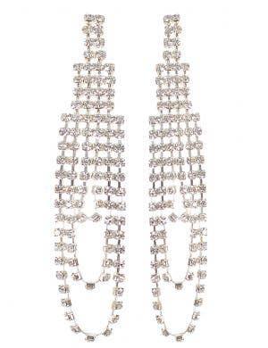 Long Rhinestone Dazzling Costume Earrings