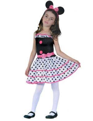 Girl's Little Mouse White and Black Polka-dot Dress Book Week Costume Image