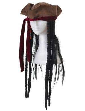 Pirate Brown Tricorn with Dreadlocks Adult's Costume Hat