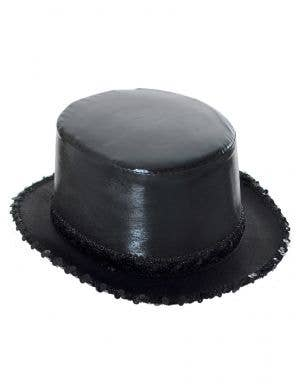 Black Wet Look Sequined Showtime Costume Top Hat