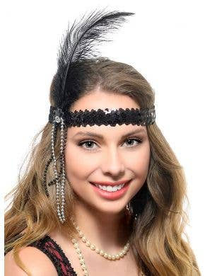 1920s Black Sequin Gatsby Headband with Feather and Beads
