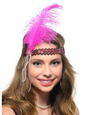 Hot Pink 1920s Flapper Headband with Sequins, Feather and Beads