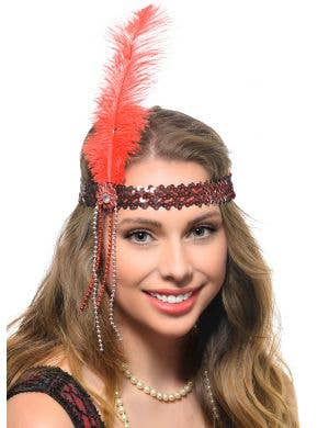 Bright Red 1920s Flapper Headband with Large Feather, Beads and Sequins