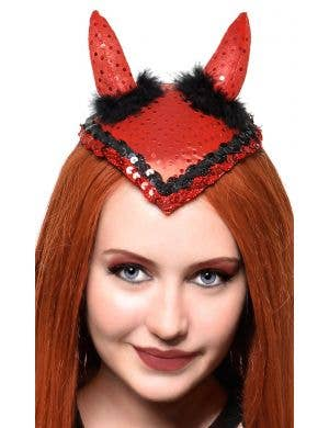 Sparkly Red and Black Women's Devil Horns Mini Hat