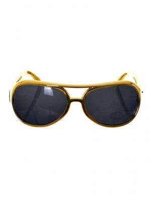 Gold Frame Black Lens Elvis Presely Costume Sunglasses Accessory