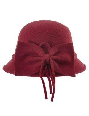 1920's Deluxe Women's Burgundy Cloche Hat Costume Accessory