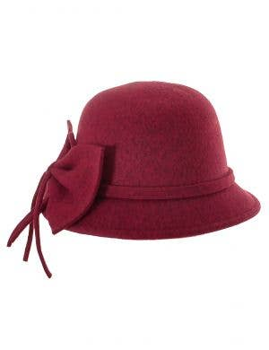 Burgundy Red 1920's Cloche Hat Costume Accessory Main Image