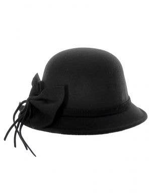 Black 1920's and 30's Women's Felt Cloche Costume Hat - Front View