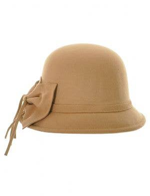 Women's 1930's and 20's Soft Felt Tan Costume Cloche Hat - Front View