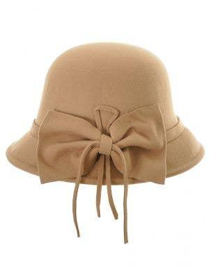 1920's Women's Tan Deluxe Cloche Hat Costume Accessory