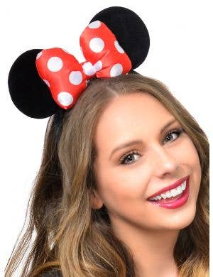 Plush Red and White Polka Dot Bow on Minnie Mouse Ears Headband
