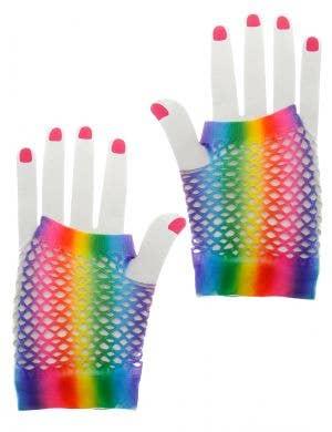 Wrist Length Rainbow Fingerless Fishnet Costume Gloves