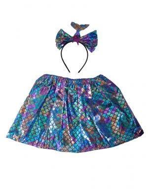 Purple and Blue Mermaid Skirt and Headband Set for Girls