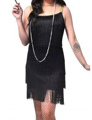 1920's Black Fringed Flapper Dress Women's Costume