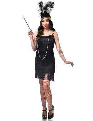 Women's Black 1920's Costume Dress with Fringing Main Image