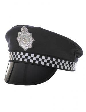 Chequered Black Police Officer Costume Hat for Adults